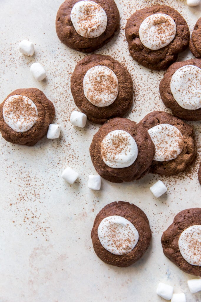 hot cocoa cookies topped with marshmallows halves and dusted with cocoa