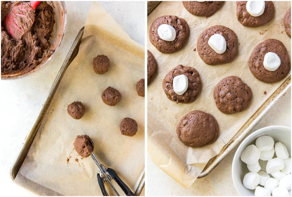 two photo collage demonstrating how to shape hot cocoa cookies into balls and top with marshmallows