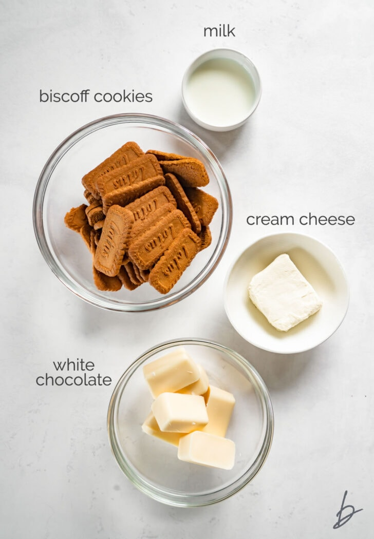 biscoff truffle ingredients in bowls labeled with text