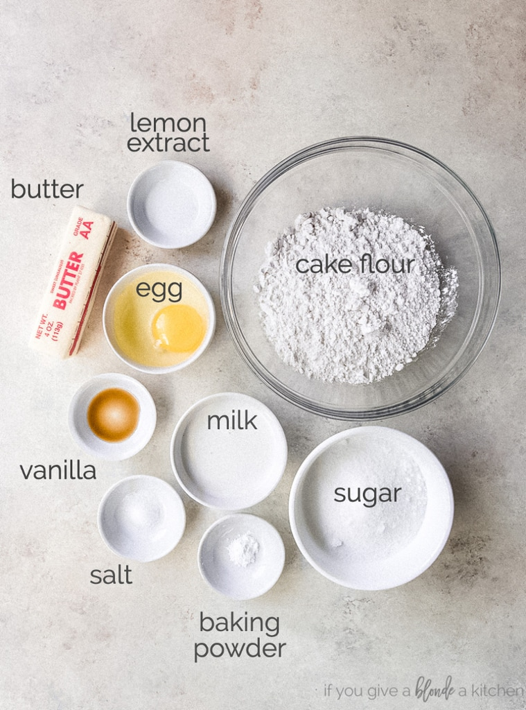 black and white cookie ingredients in bowls labeled with text