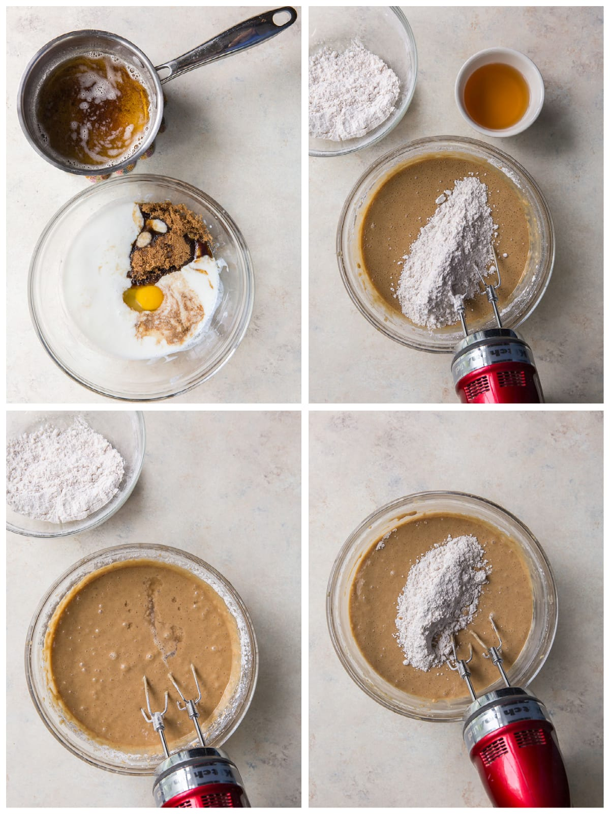 photo collage demonstrating how to make batter for buttered rum cupcakes