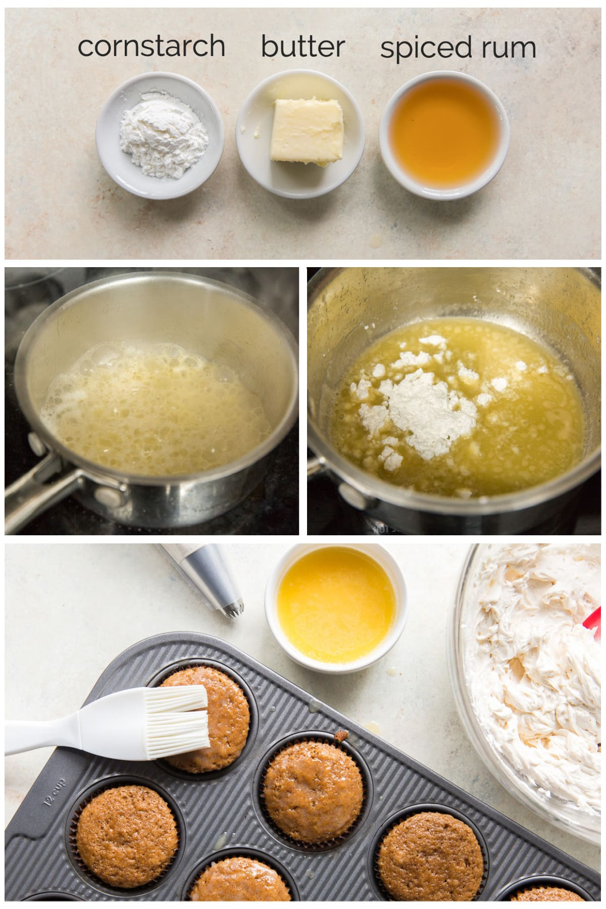 photo collage demonstrating how to make buttered rum syrup