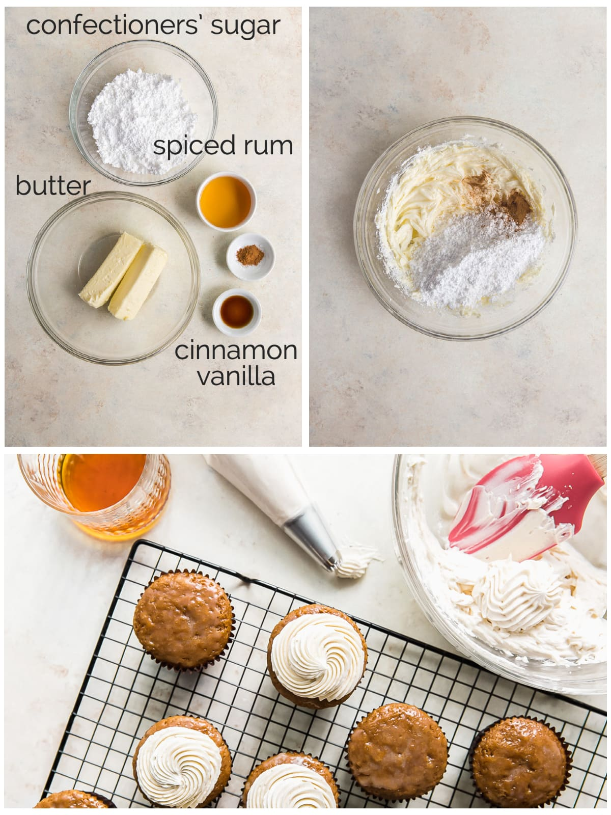photo collage showing ingredients and steps to make rum buttercream frosting