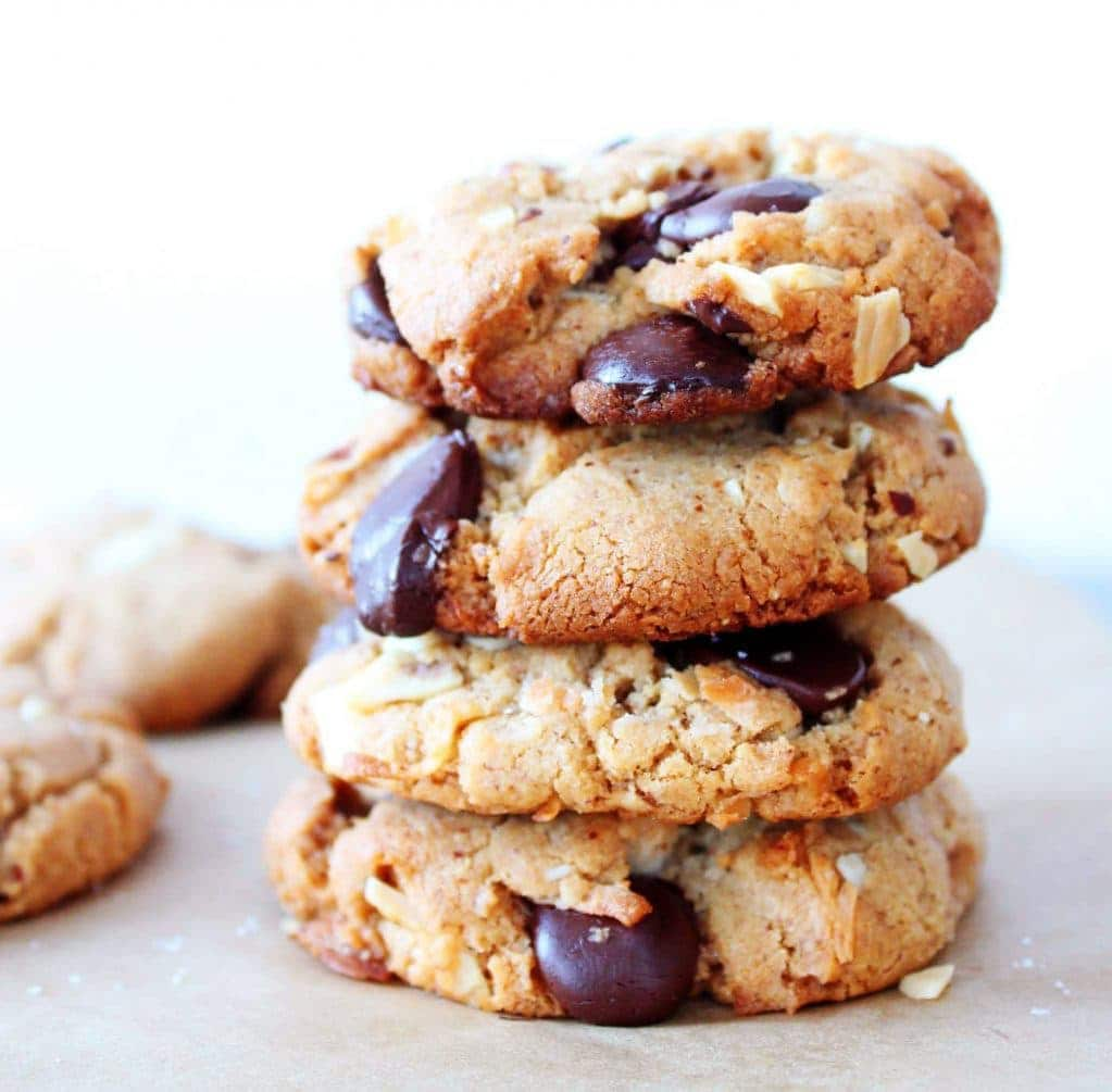 Almond butter cookies are packed with coconut, almonds and chocolate chunks.