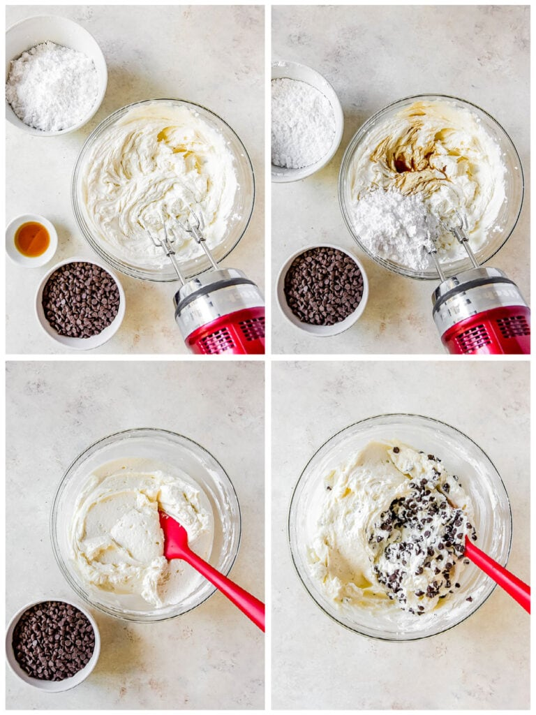 photo collage demonstrating how to make cannoli dip in a mixing bowl