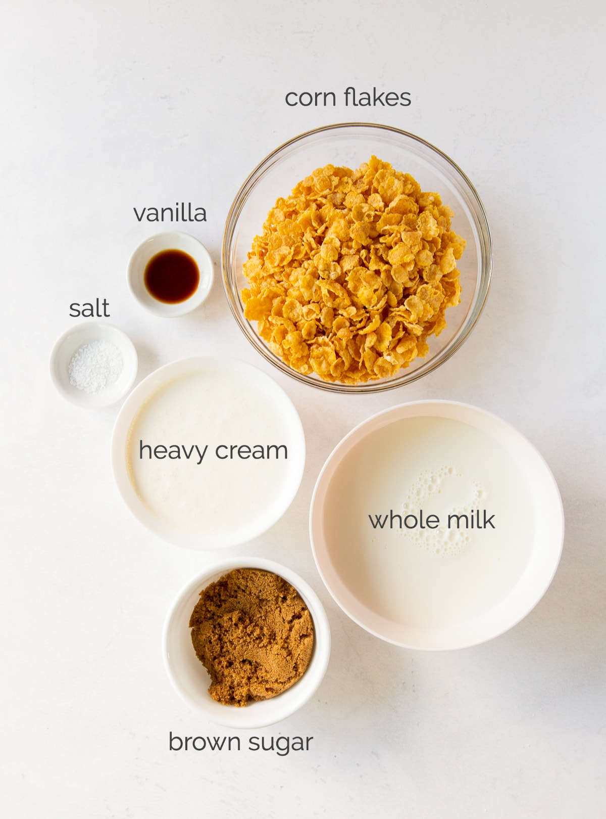 cereal milk ice cream ingredients in bowls