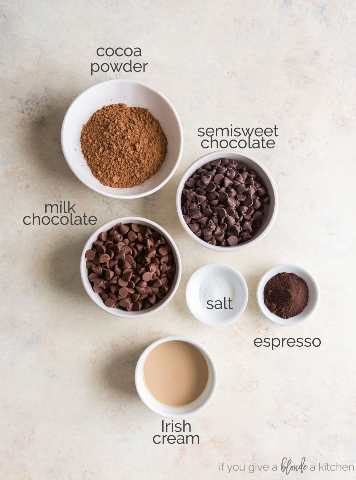 bowls of ingredients for chocolate truffles labeled with text