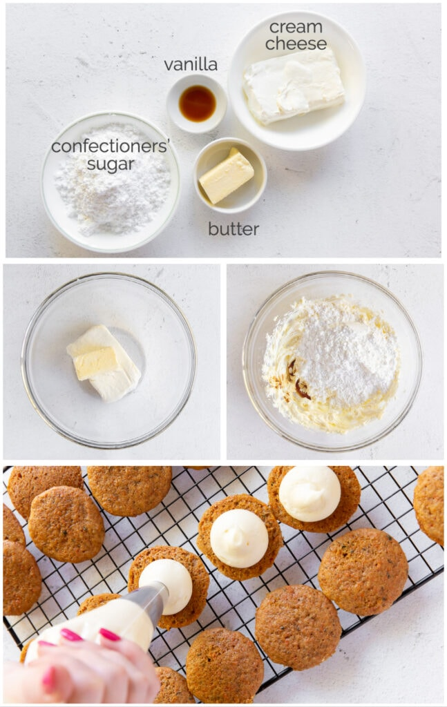 photo collage showing the ingredients and steps to make cream cheese frosting for carrot cake whoopie pies