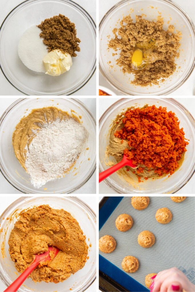 photo collage demonstrating how to make carrot cake whoopie pie dough
