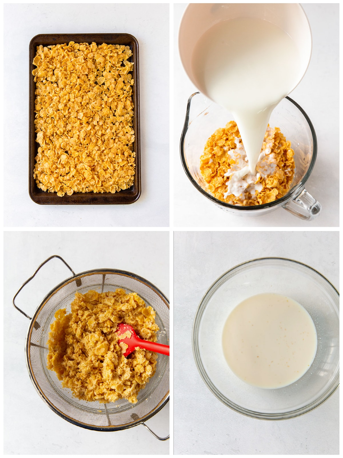 photo collage demonstrating how to toast and steep corn flakes to make cereal milk for ice cream