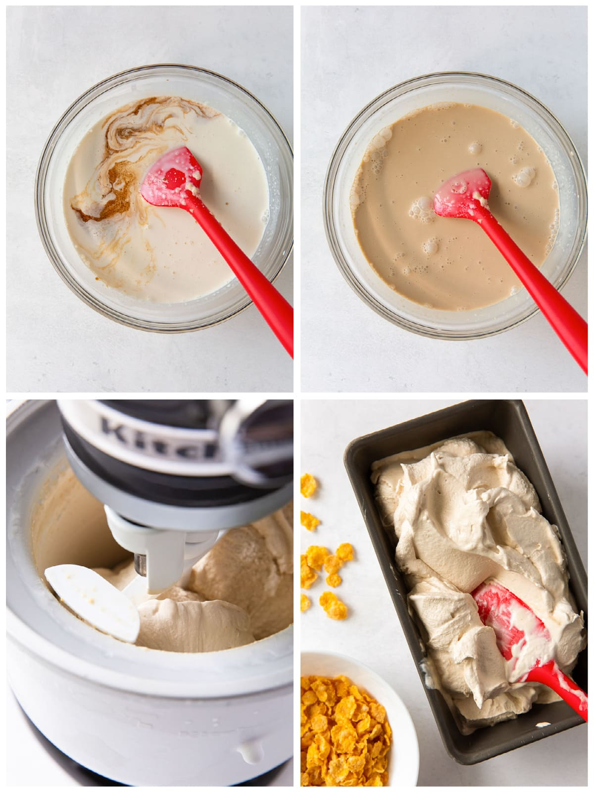 photo collage demonstrating how to make mixture for cereal milk ice cream in ice cream maker