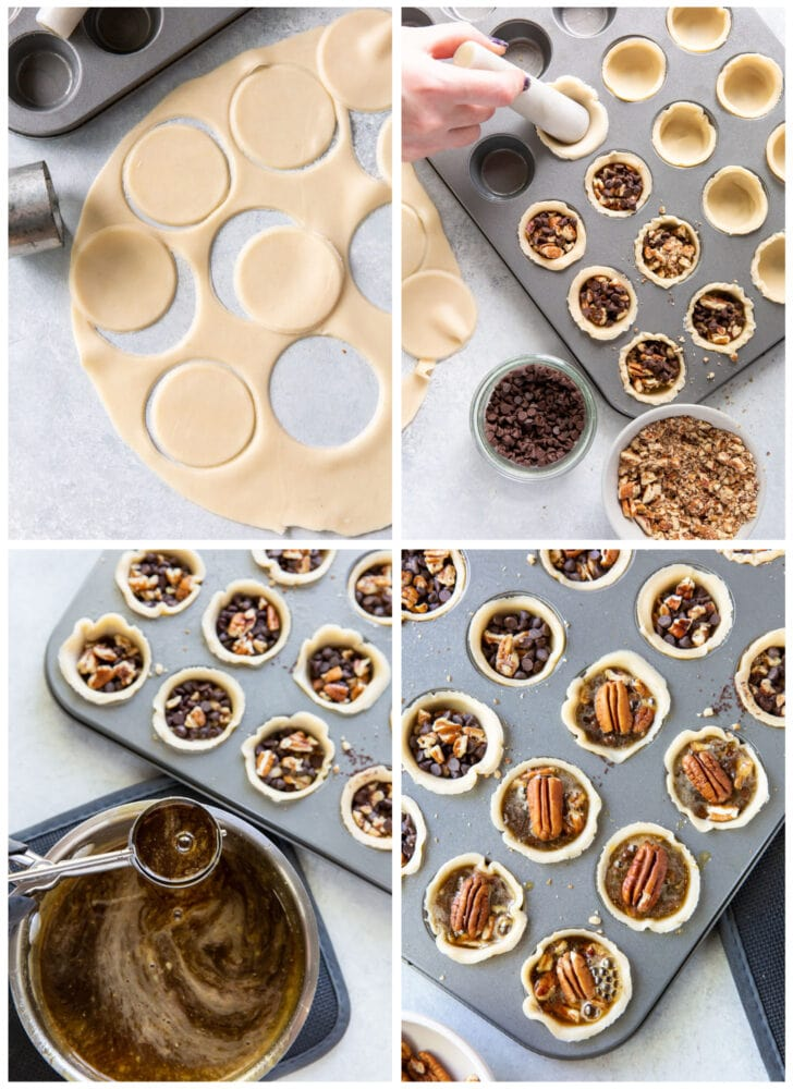 photo collage demonstrating how to assemble mini derby pies in a mini muffin tin
