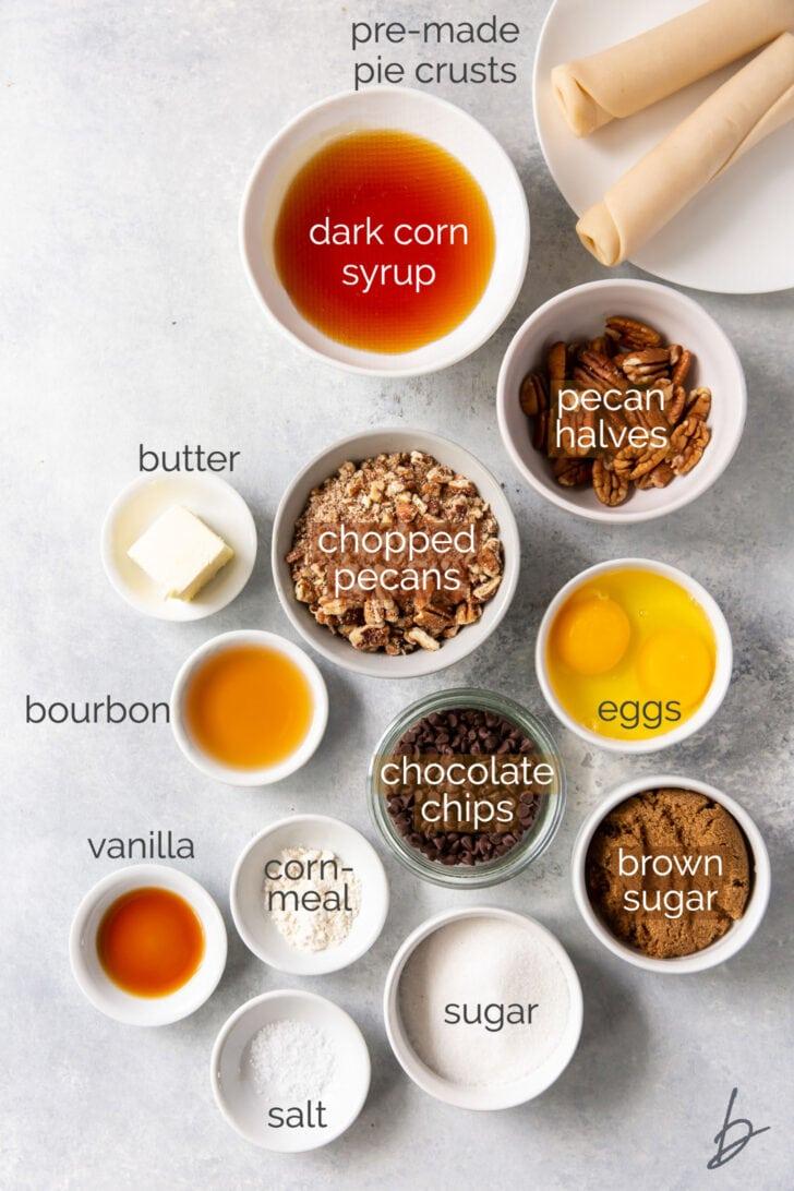 mini derby pie ingredients in bowls