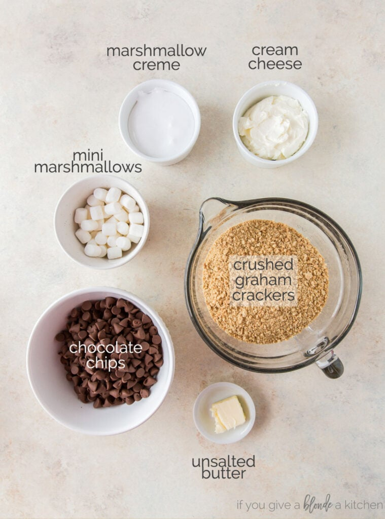 smores truffle ingredients in bowls labeled with text