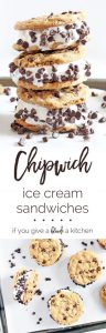 Learn how to make one of the best summertime desserts—the Chipwich. This chocolate chip cookie ice cream sandwich is simply delicious and easy to make. | www.ifyougiveablondeakitchen.com