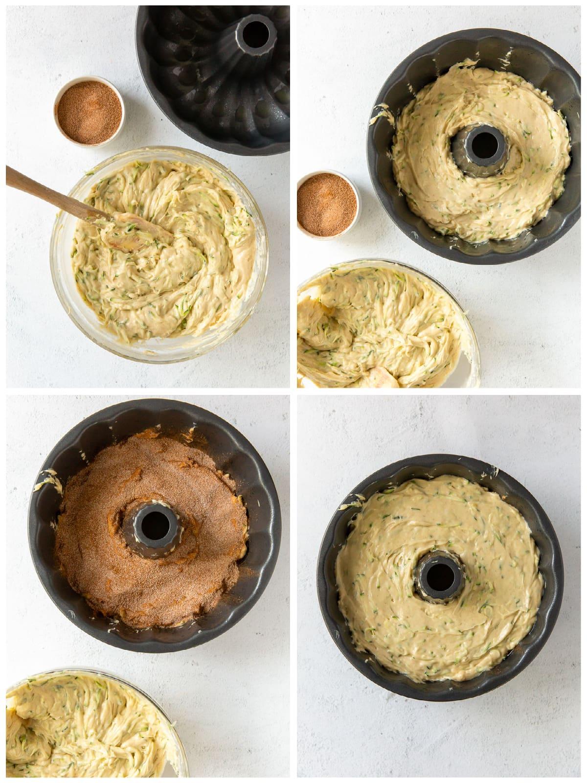 photo collage demonstrating how to add cinnamon swirl to zucchini bundt cake
