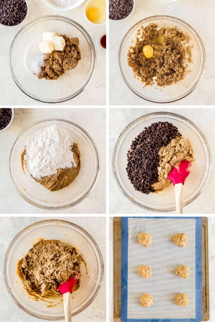 photo collage demonstrating how to make homemade chocolate chip cookies for ice cream sandwiches