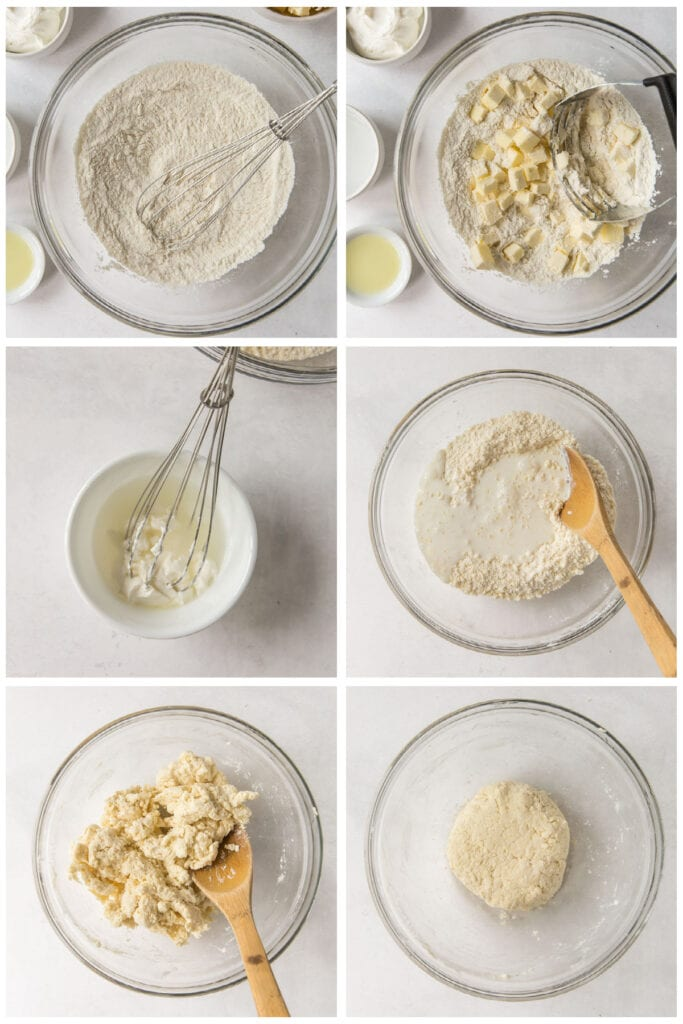 photo collage demonstrating how to make pastry dough for galette