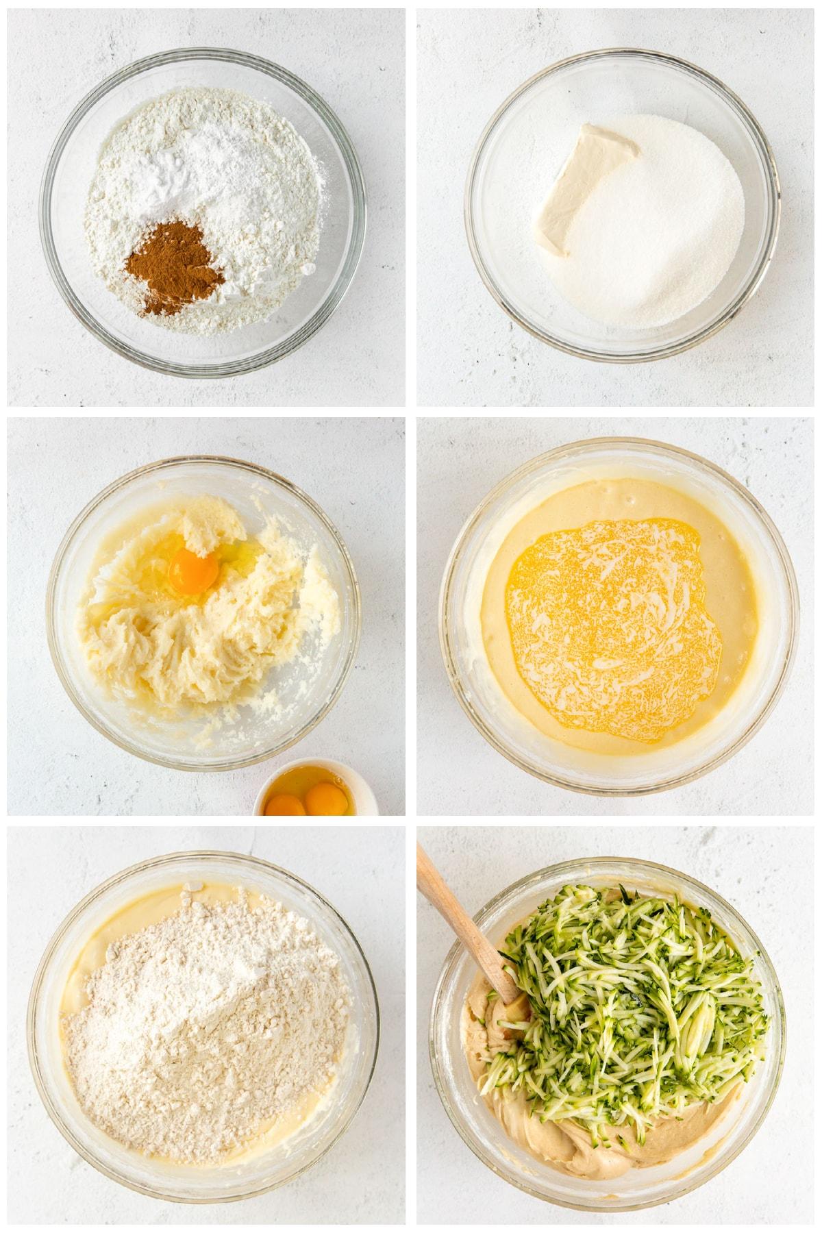 photo collage demonstrating how to make zucchini bundt cake batter