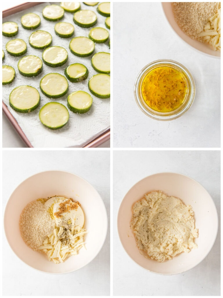 photo collage demonstrating how to make filling for zucchini galette
