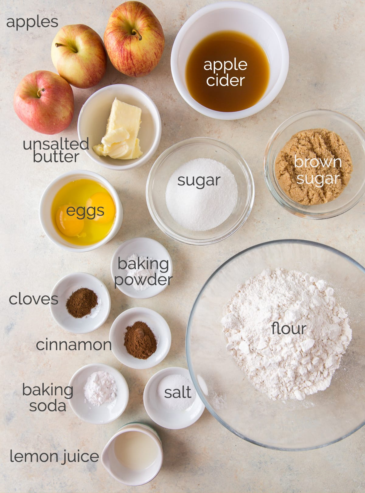 apple cider bread ingredients labeled with text