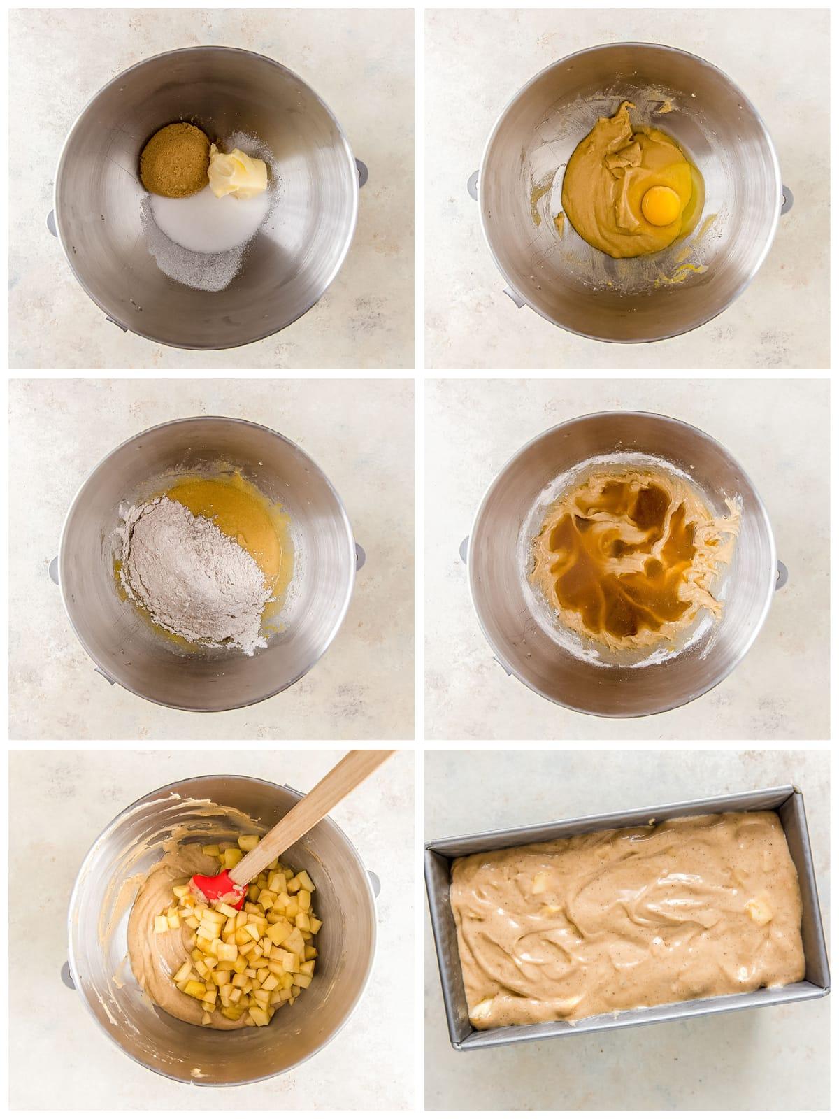 photo collage demonstrating how to make batter for apple cider bread