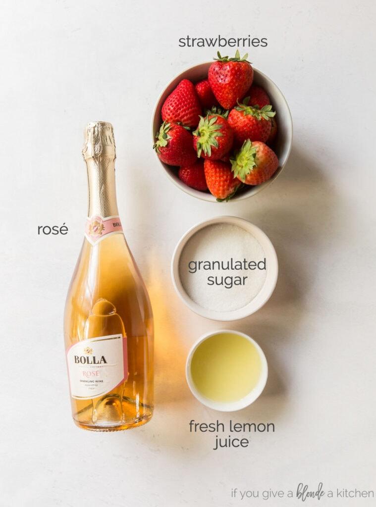 frose ingredients rose strawberries sugar and lemon juice