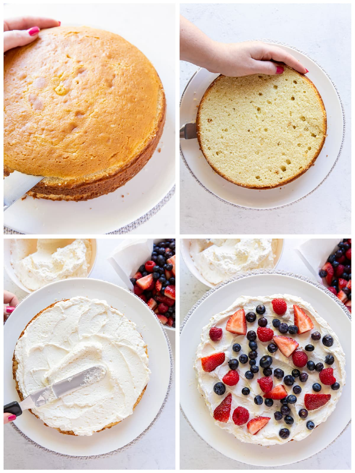 photo collage demonstrating how to assembly a triple berry layer cake