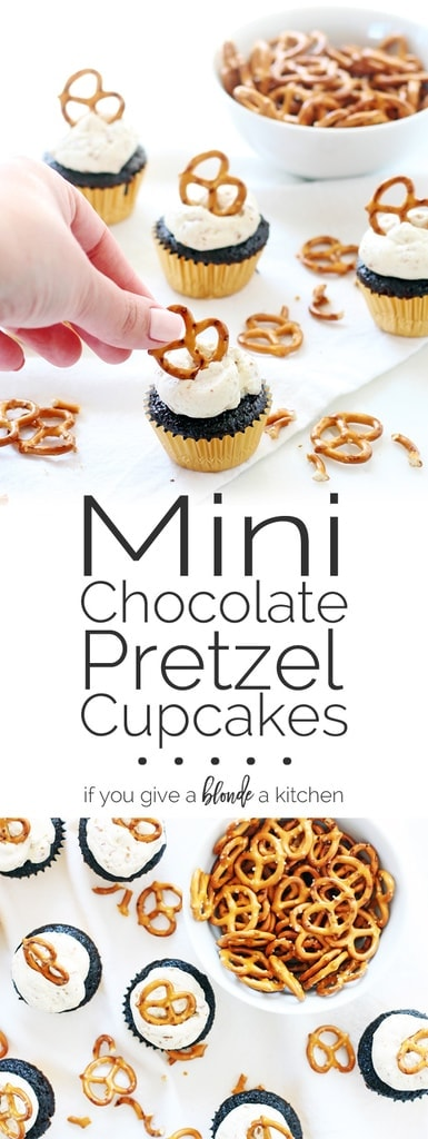 Chocolate pretzel cupcakes are made with a chocolatey cake batter and pretzel buttercream. | www.ifyougiveablondeakitchen.com