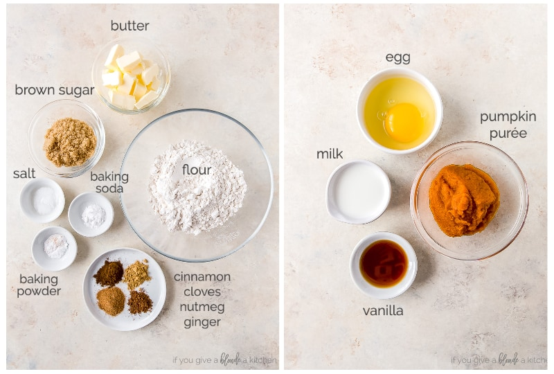 two photo collage of pumpkin scone ingredients labeled with text