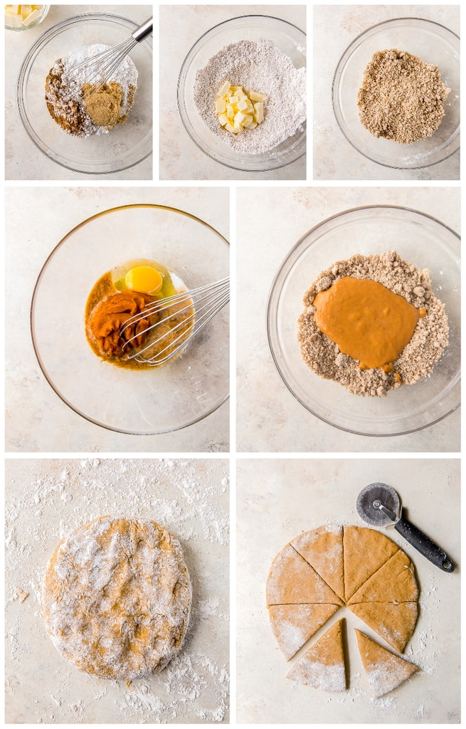 photo collage demonstrating recipe steps to make pumpkin scones