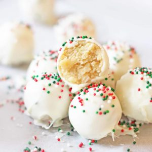 sugar cookie truffles red and green sprinkles white chocolate