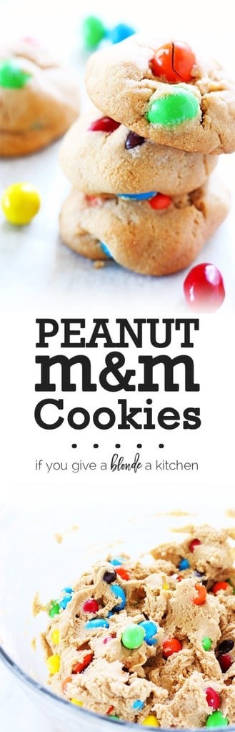 Peanut m&m cookies use an easy peanut butter cookie recipe and peanut m&ms in the dough | www.ifyougiveablondeakitchen.com