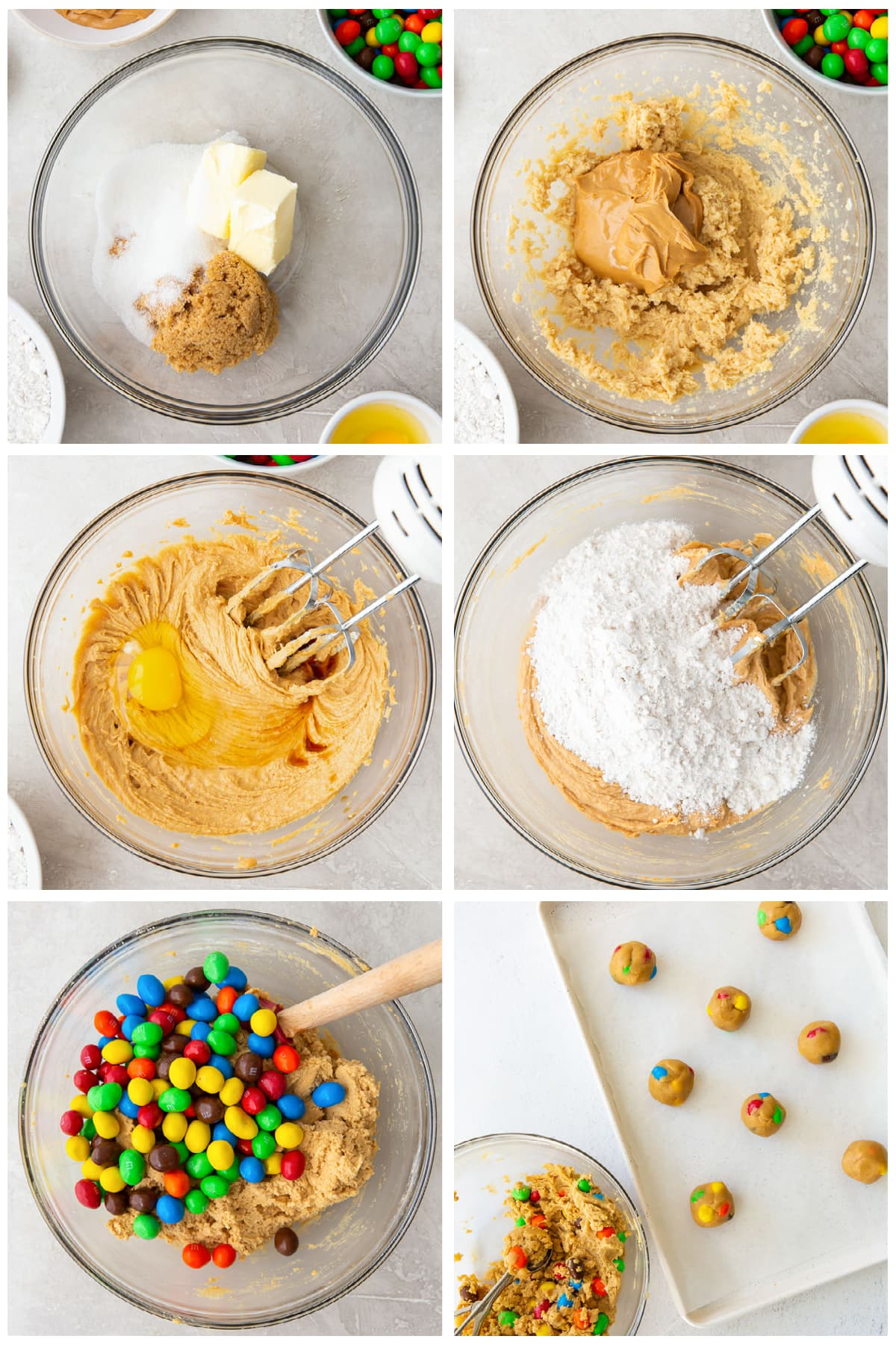 photo collage demonstrating how to make peanut m&m cookies