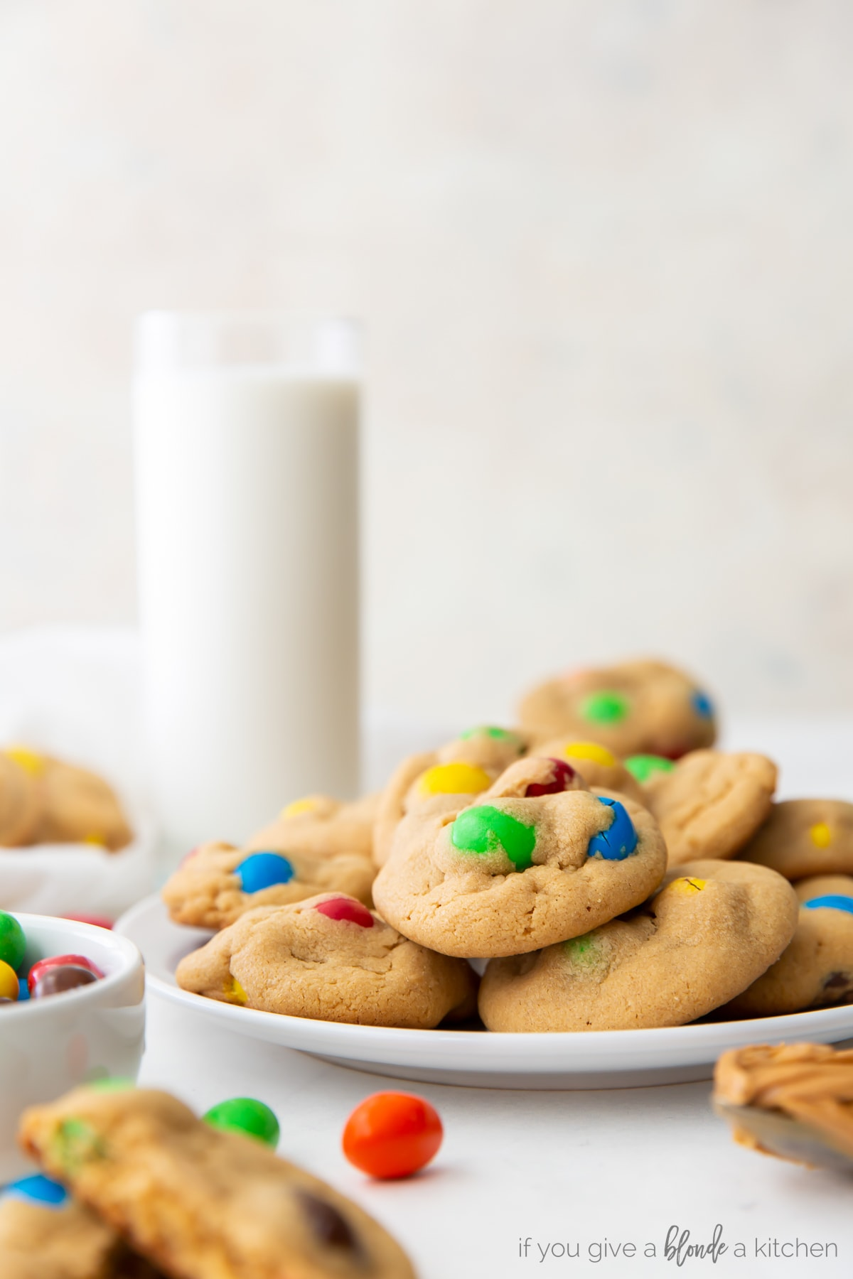 stacks of peanut m&m cookies with m&m candies