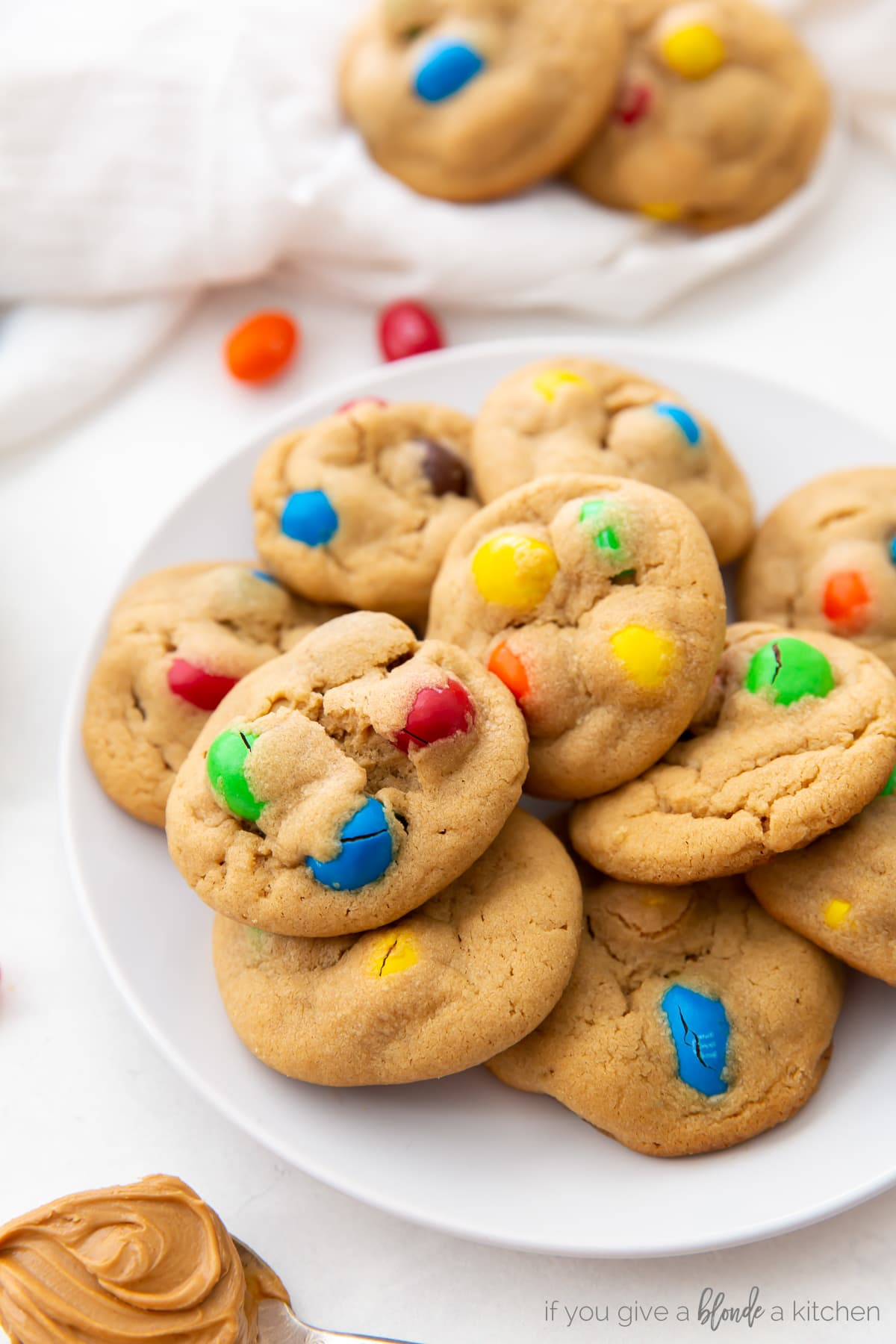 stack of three peanut m&m cookies