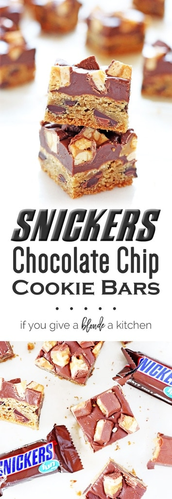 Snickers chocolate chip cookie bars - great recipe for leftover Halloween candy! | www.ifyougiveablondeakitchen.com