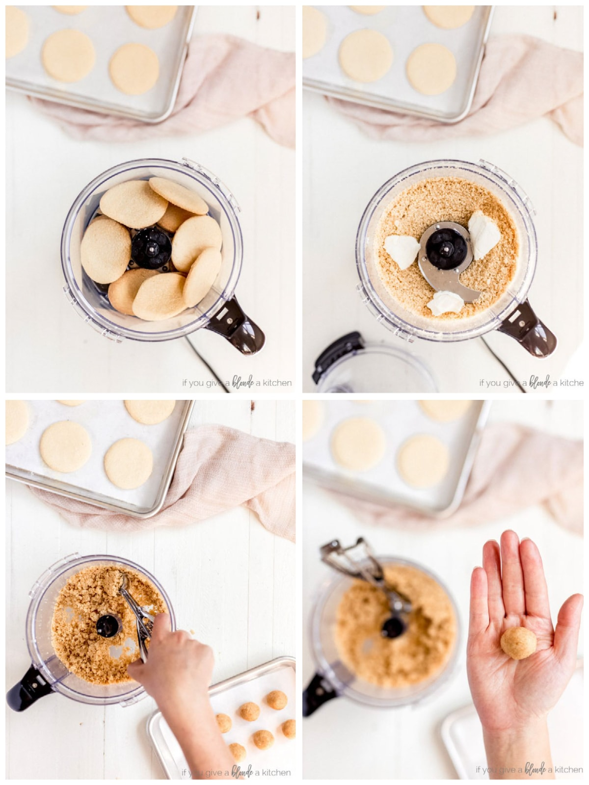 photo collage demonstrating how to make sugar cookie truffle dough in a food processor