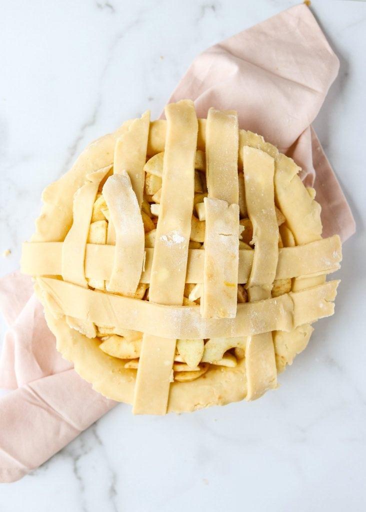 pie dough strips folded back