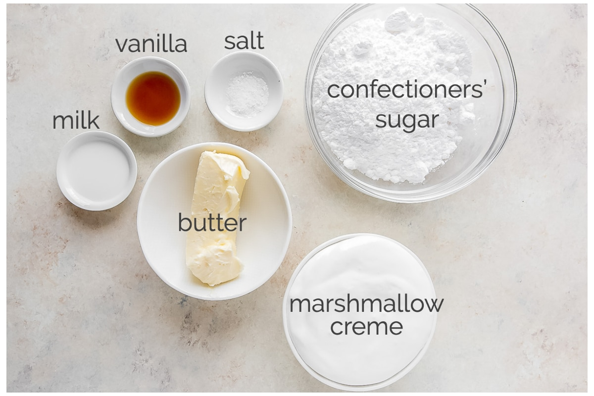 marshmallow frosting ingredients labeled with text
