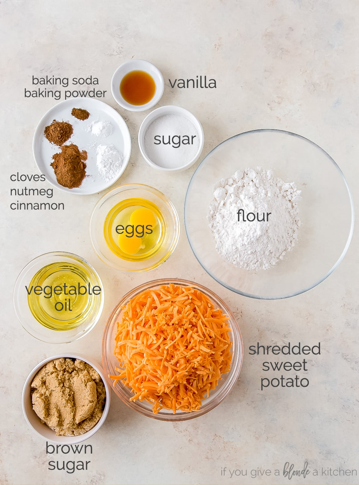 sweet potato cupcakes ingredients in bowls labeled with text