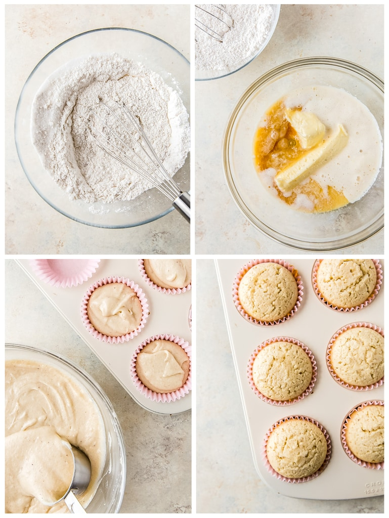 photo collage demonstrating how to make eggnog cupcakes in mixing bowl and cupcake tin