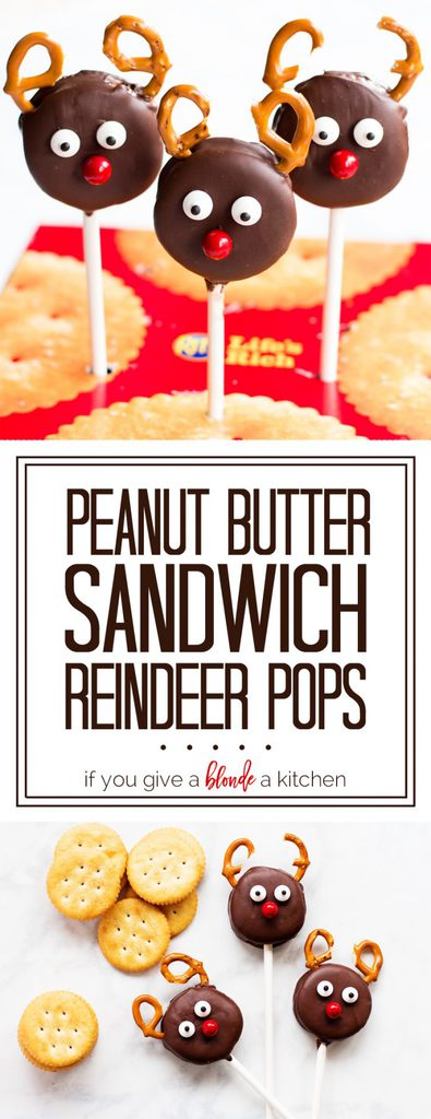 Peanut Butter Sandwich Reindeer Pops #HolidayRITZ #ad   www.ifyougiveablondeakitchen.com