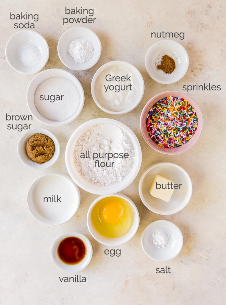 birthday donut ingredients in bowls labeled with text