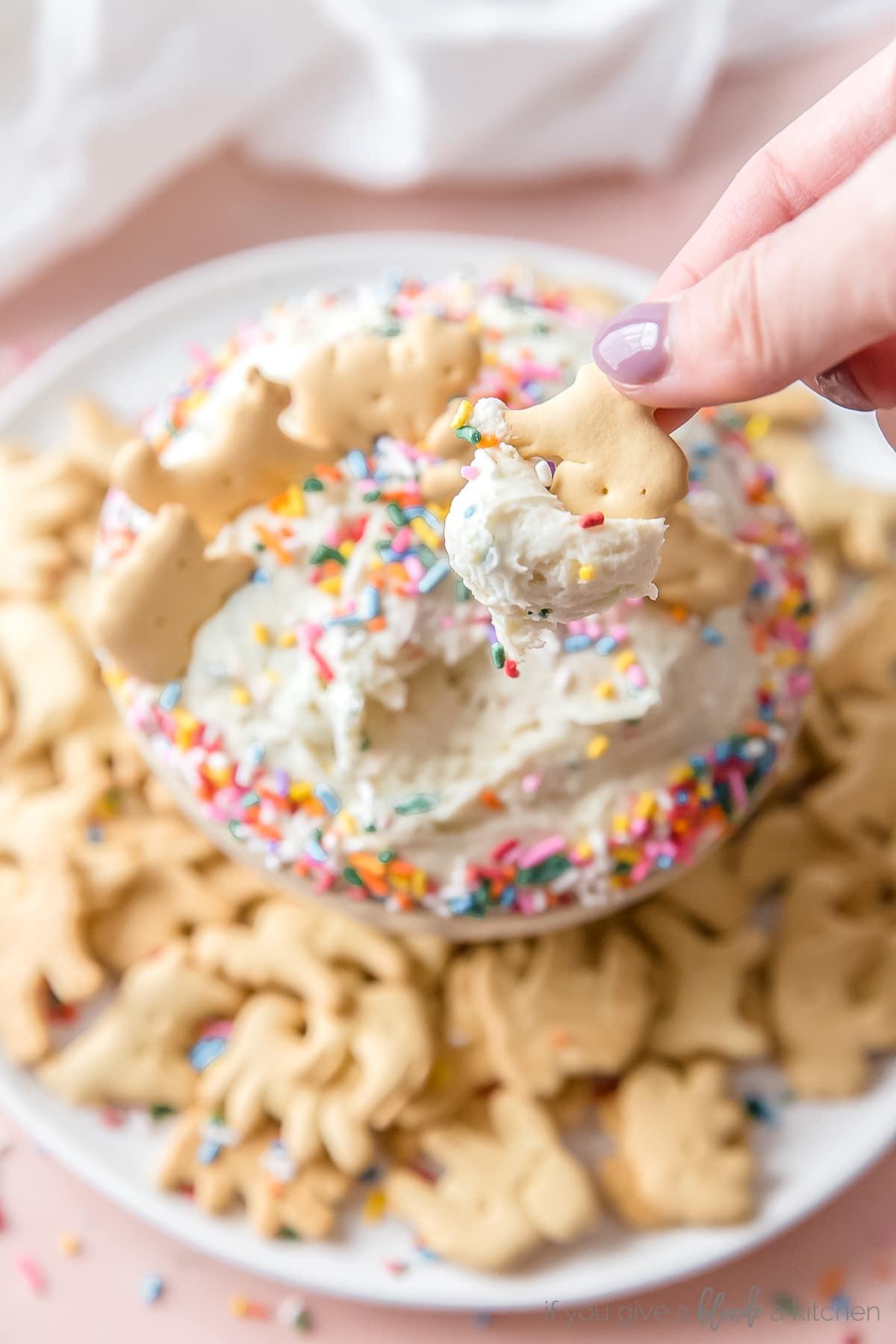 hand dipping animal cracker in funfetti dip