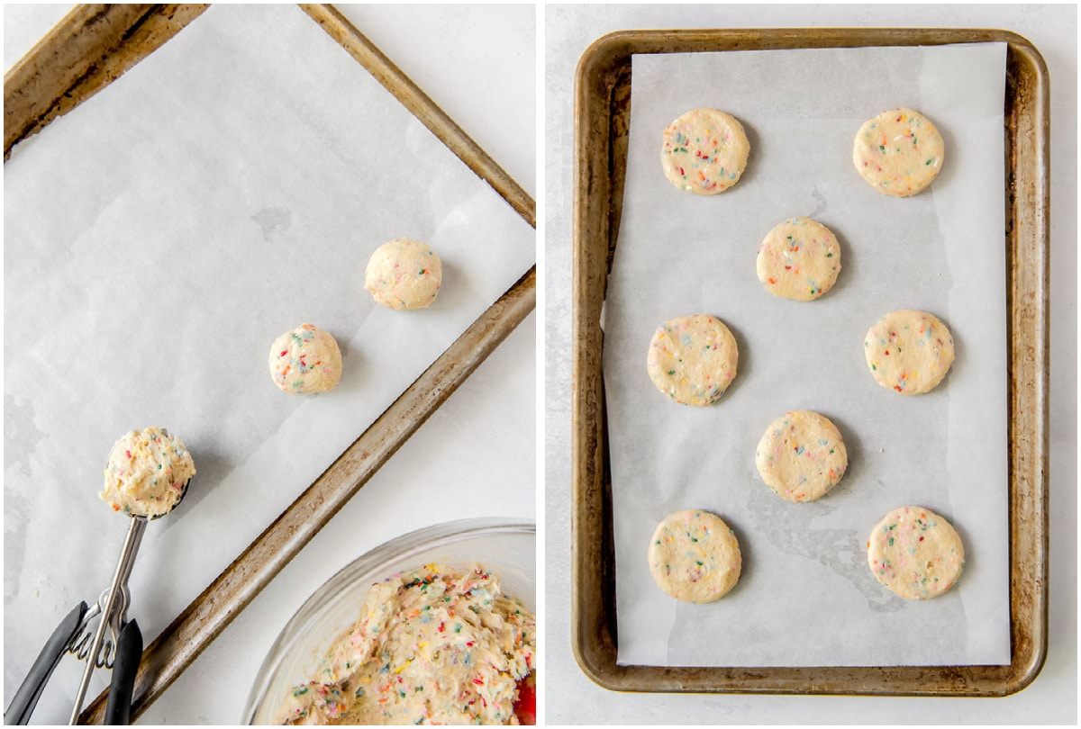 two photo collage demonstrating how to scoop and shape sprinkle sugar cookies