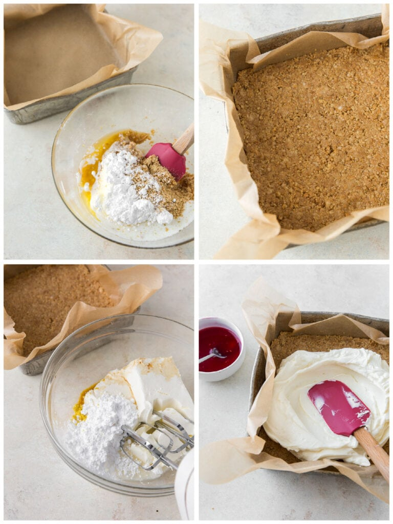photo collage demonstrating how to make graham cracker crust and cheesecake filling for raspberry cheesecake bars