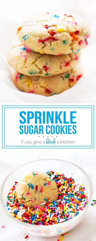 Sprinkle sugar cookies are an easy and fun recipe for birthdays and more! | www.ifyougiveablondeakitchen.com