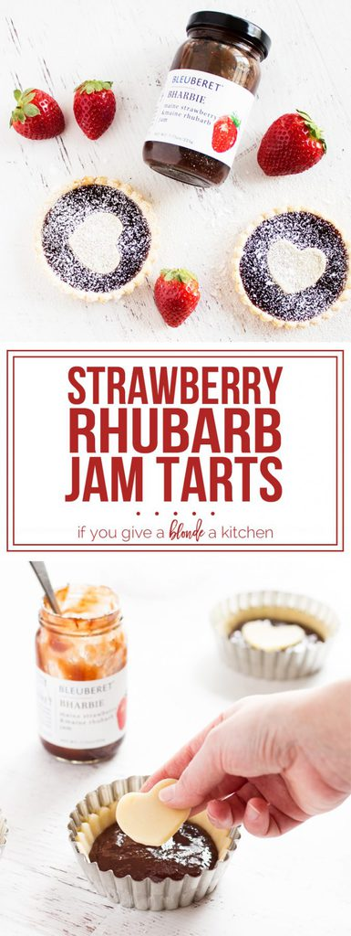 Strawberry rhubarb jam tarts for Valentine's Day @bleuberet #sponsored   www.ifyougiveablondeakitchen.com