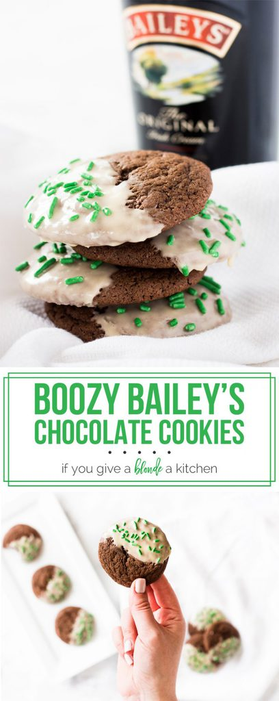 Chocolate Baileys cookies with icing are a boozy dessert perfect for St. Patrick's Day! | www.ifyougiveablondeakitchen.com